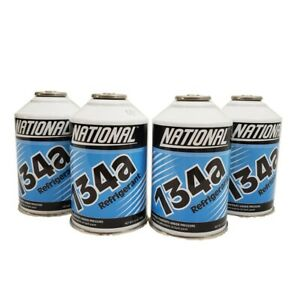 National R134a Auto A/C Air Conditioning Refrigerant Freon Gas USA 12oz -4 Can