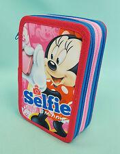 XXL 3 Fach Minnie Mouse  Selfie Federmäppchen 43 teilig Federmappe Disney