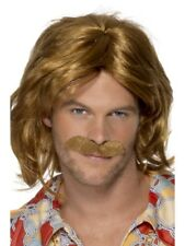 Brown 70's Super Trouper Wig & Moustache Adult Mens Smiffys Fancy Dress Costume