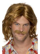 Mens Super Trouper 70s Brown Wig & Moustache 1970s Smiffys Fancy Dress Costumes