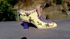 "Vintage Pink and Purple Ceramic Shoe with Bow & Flowers 5"" Long x 2 3/4"" Tall"