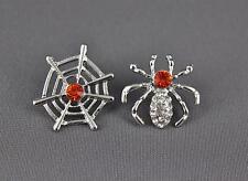 Spider web earrings Silver Orange halloween earrings stud post earrings
