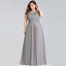 8e8ba64110 Ever-Pretty Long Formal Wedding Dress Lace Bridesmaid Evening Party Gown  09993 Grey 14
