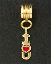 European Bead Bracelet I HEART U Dangle Charm Love Gold Plated Stainless Steel