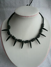 Black Cord Bead Tooth Spikes Pendant Necklace Goth Emo Surfer