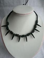 Cordon noir perle collier pendentif dent pointes goth emo Surfeur