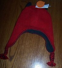 NWOT OLD NAVY SWEATER KNIT RED w BROWN FLEECE LINING WINTER TASSLE HAT 0-3 MO XS