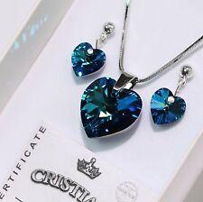 Bermuda Blau Herz Original Swarovski Elements Kette Anhänger Ohrringe Set