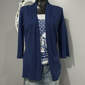 OS One Size MICHAEL STARS Blue Supima Cotton Blend Cardigan Top