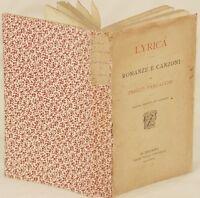ENRICO PANZACCHI LYRICA ROMANZE CANZONI SONGS SECONDA EDIZIONE LIRYCS 1878 POEMS