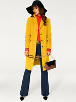 Striking Knee Length Wool and Cashmere Single Breasted Tailored Yellow Overcoat