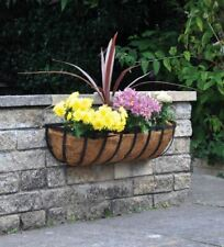 More details for gardman 60cm 24 inch georgian metal wall trough basket black planter liner
