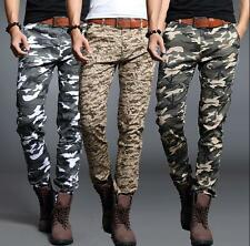 New Mens Military Casual Long Pants Skinny Camouflage Overall Cargo Trousers SZ