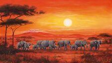 Leinwand Bild Motiv A. Heins Wild Elefant Malerei Orange 40x70x1,2 cm A1FP