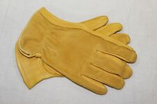 Premium Grade Grain Deerskin Deer Leather Driver Work Gloves Suede Back Small