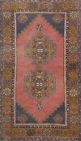 Antique Tribal Geometric Anatolian Turkish Oriental Area Rug Handmade Wool 4'x7'