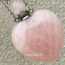 Natural rose Quartz Crystal Perfume Bottle Necklace Pendant healing 1pc
