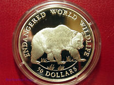 1990 Cook Is Large Silver Proof  50$ Fauna Grizzly Bear