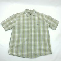 Wolverine Mens Green Short Sleeve Button Down Plaid Casual Cotton Shirt Large