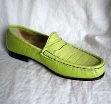 New $160 CROC Penny Loafers MADE IN ITALY 5.5 by Rangoni PASTEL LIME BEAUTIES
