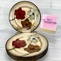 Pfaltzgraff PAINTED POPPIES Stoneware Floral Brown Tan Salad Lunch Plates Set 4