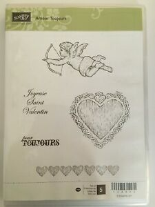 Stampin' Up Rubber Stamp Set Amour Toujours Valentine's Day Love Hearts Cupid