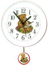 070118 Artline Kinderuhrkeramik Teddy als Gärtner Blaurand Handbemalt Quarzwerk