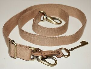 """FOSSIL Light Tan Cotton Webbing & Leather 38"""" Replacement Strap with Key Fob"""