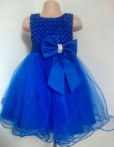 Royal Blue Christening Flower Girl Bridesmaid Pageant Diamante Party Dress 0-13y