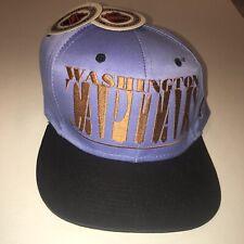 NWT Vintage 90s NHL Washington Capitals BIG SCRIPT Logo 7 SnapBack Hat Blue Gold