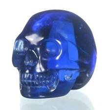 """1.5"""" Deep Blue Obsidian Crystal Skull Carving Collectibles 28W12"""