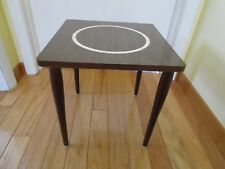 """MID CENTURY MODERN side Table Formica speckled Mini TILE Tapered legs 14¾""""square"""