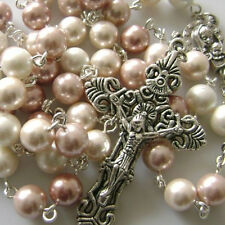 8MM MOTHER OF PEARL BEADS 5 DECADE ROSARY & OLD SILVER CROSS CATHOLIC necklace
