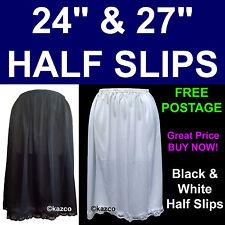 "Ladies 24"" 27"" 29"" Half Slip Petticoat Waist Size 12-26. Black White Underskirt"