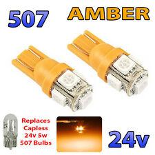 2 x AMBER 24v Capless Side Light 507 501 W5W 5 SMD T10 Wedge Bulbs HGV Truck