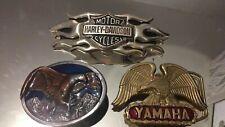 More details for 3 x vintage motorcycle belt buckles 1980s + harley davidson yamaha bergamot look