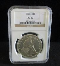 1859-S Seated Liberty Silver Dollar - NGC AU 50 - 010     ENN COINS