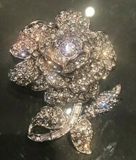 Joan Rivers Private Collection Simulated Diamond Rose Brooch