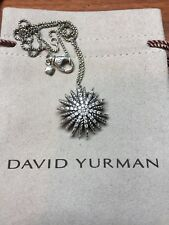 "David Yurman Silver Starburst Medium Diamond Pendant CHAIN 16"" Necklace"