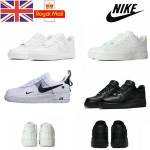 Women Men UK NIKE AIR FORCE 1'07 Sneaker Sport Shoes Sneakers White Blk Leathers