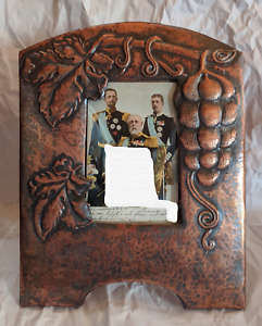 Pair Large Extraordinary Sweden Arts & Crafts Grapevine Copper Picture Frames