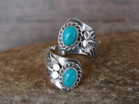 Navajo Indian Jewelry Sterling Silver Turquoise Adjustable Ring!