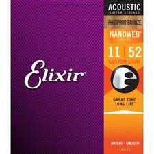 Elixir Nanoweb Cuerdas para guitarra acústica de bronce fosforoso recubierto de luz personalizada 11-52