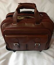 Siamod checkpoint Detachable wheeled Brown Leather laptop bag Briefcase
