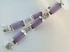 Purple Jade 18KWGP Fortune Longevity Happiness Luck Link Clasp Bangle Bracelet