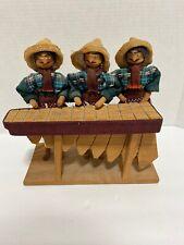 Vintage 1975 Marimba Players Guatemalan Folk Art Wooden Sculpture