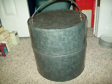 Glossy Gray Patent Vinyl Hat or Wig Luggage Carrier