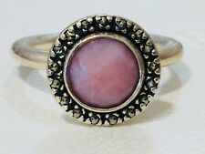 Authentic Pandora Pink Opal Stone Marcasite Ring 190617 Size 58 Retired