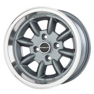7x 13 Superlite Deep Dish Wheels 4 x 100 PCD Set of 4 Grey