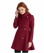 Hip Length Polyester Patternless Coats & Jackets for Women